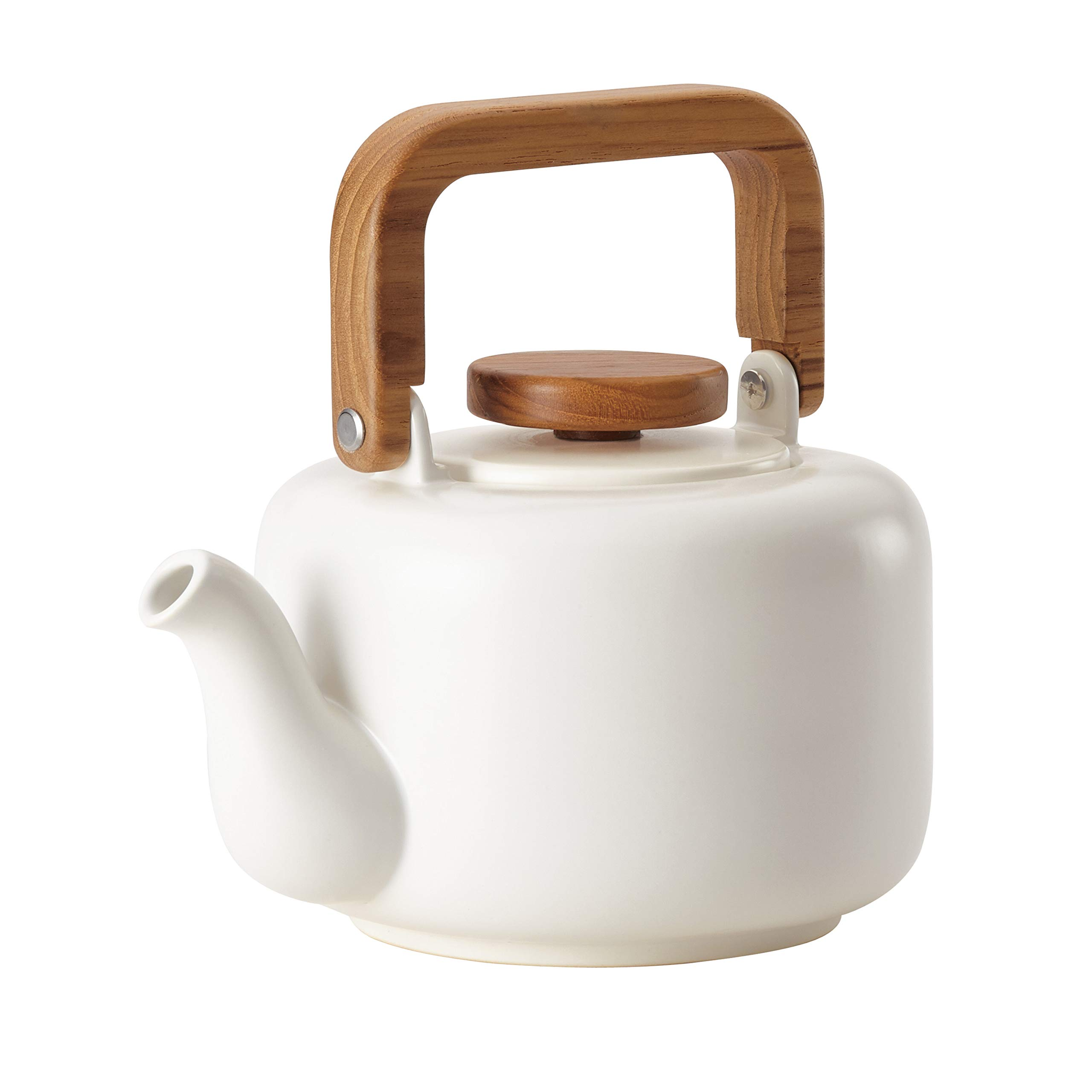 BonJour Ceramic Coffee and Tea 4-Cup Ceramic Teapot with Infuser, Matte White