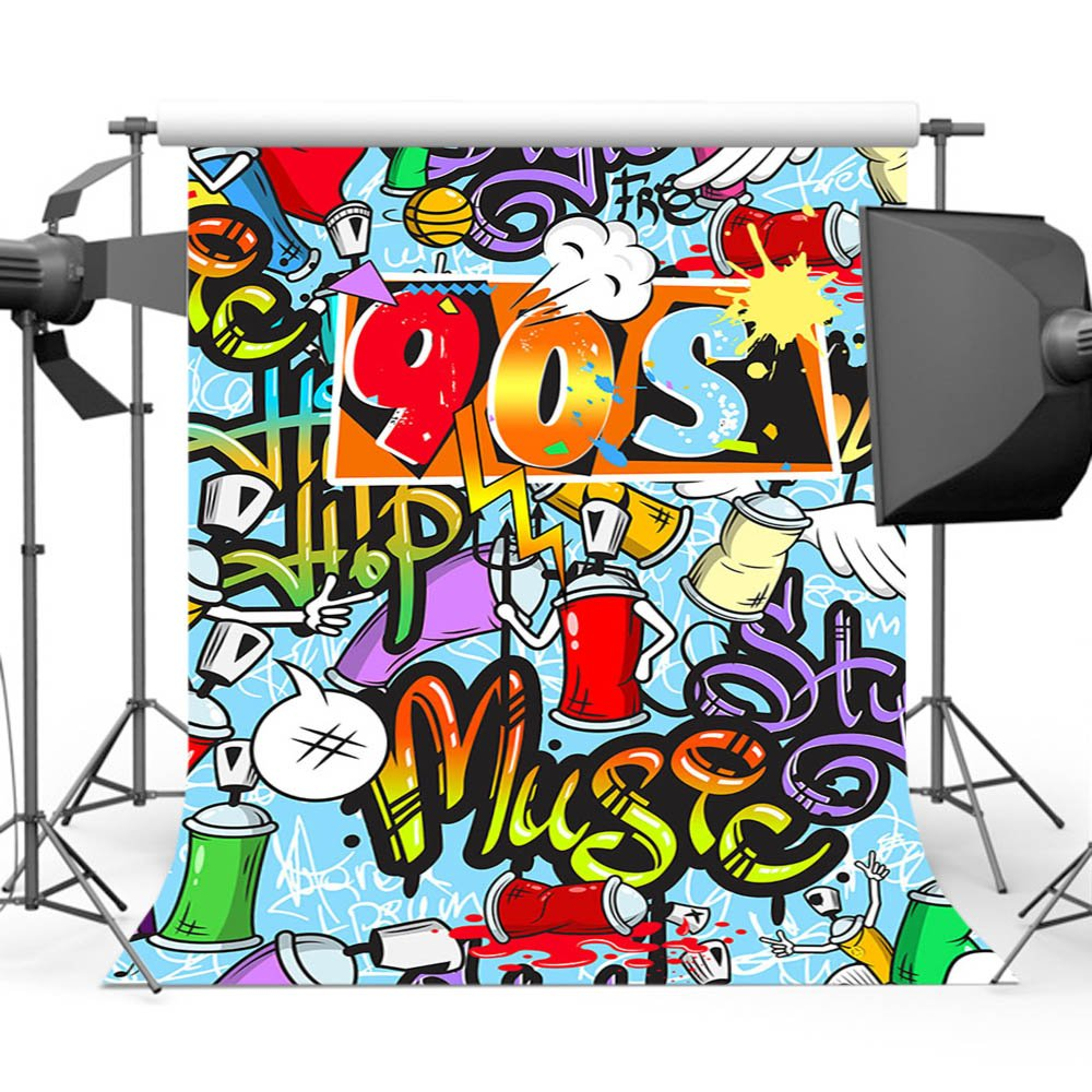 Mehofoto 90s Photo Backdrop Hip Hop Photography Background for Carnival Retro Colorful Party Decoration Backdrops for Photographers Photo Studio Props 5x7