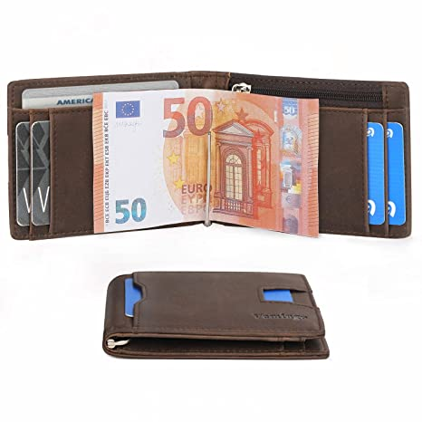828196e9cb40f1 Vemingo Herren Geldbeutel Geldbörse mit Geldklammer & Münzfach | RFID  Blocker Kreditkartenetui Karten Portemonnaie | Dünne