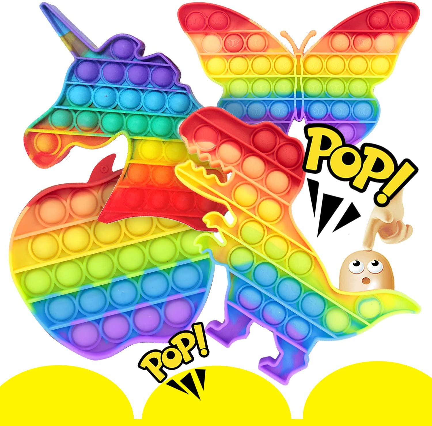 Push Pop Popits Popping Bubble Fidget Sensory Toys Pop Game for Boys and Girls Anxiety & Stress Reliever Toy Gifts (4 Pack- Rainbow Unicorn, Apple , Butterfly , Dino)