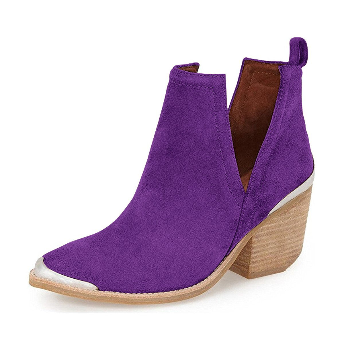 YDN Women Ankle Booties Low Heel Faux Suede Stacked Boots Cut Out Shoes with Metal Toe B01N3K2UZW 6 M US|Purple
