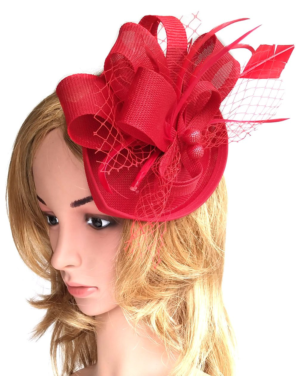 Biruil Fascinators Sinamay Feather Womens Pillbox Flower Derby Cocktail Tea Party Hat (Red) by Biruil (Image #2)