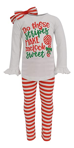 aac8589ba Amazon.com: Unique Baby Girls Candy Cane Christmas Outfit with ...