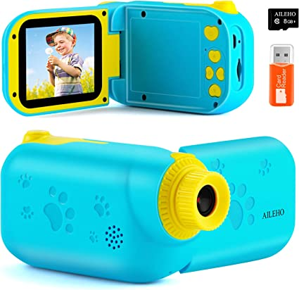 AILEHO Kids Camera for Girls Digital Video Camera for Kids Birthday Children Toys 3 4 5 6 7 8 9 Years Old Toddler Camera 8M 1080P with 8GB Card Game Camera Rechargeable IPS 2.4 Pink
