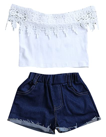 e7bc05898817 Amazon.com: Kids Baby Girls Off-Shoulder Lace Floral Sleeveless T-Shirt  Denim Shorts Outfit: Clothing