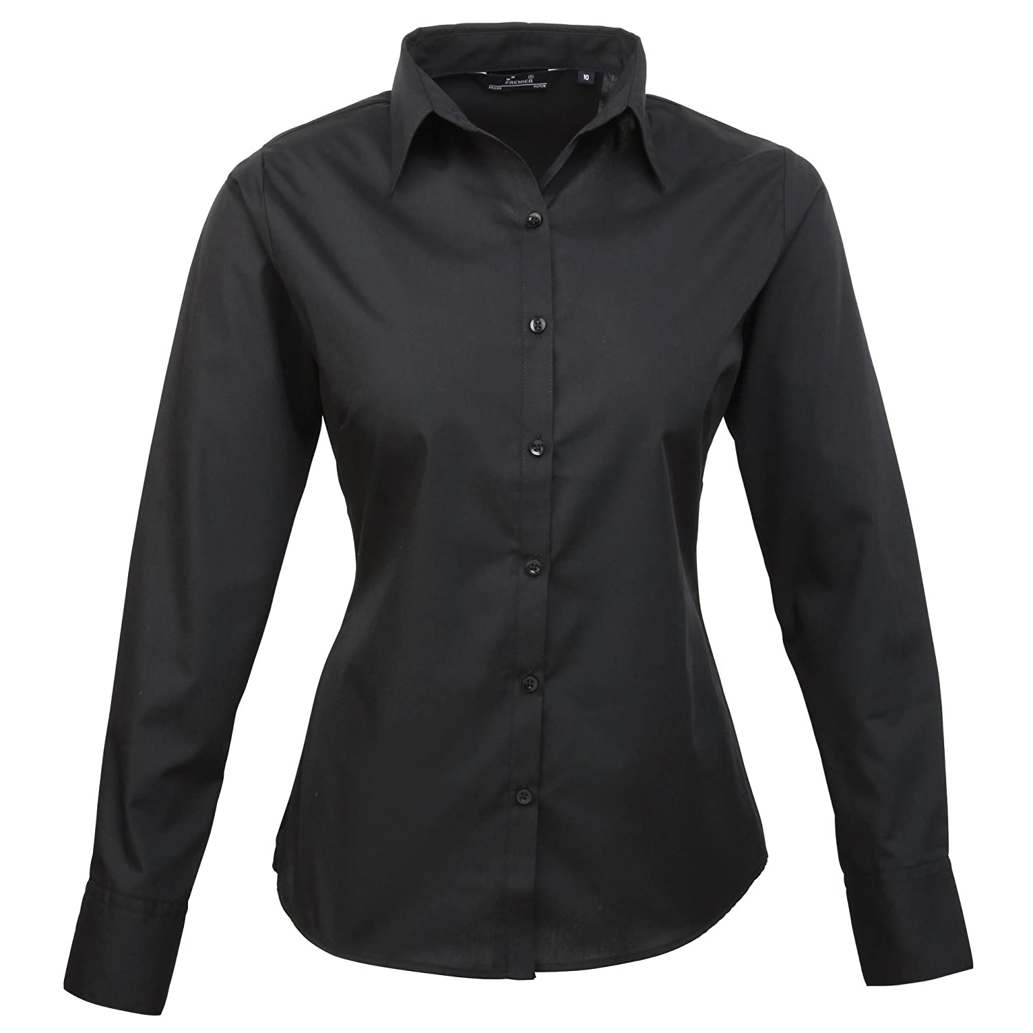 Premier Womens/Ladies Poplin Long Sleeve Blouse / Plain Work Shirt (14) (Black) UTRW1090_236
