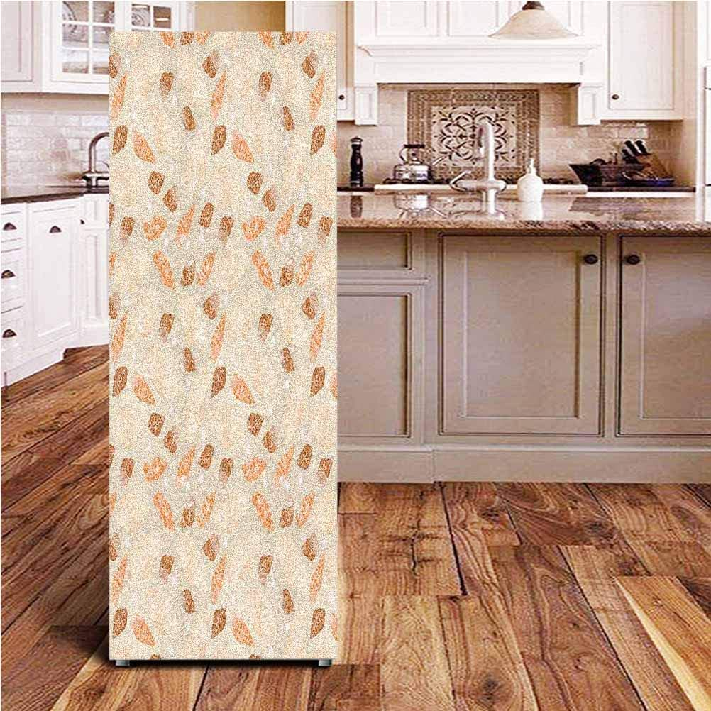 """Pearls Decoration 3D Door Wall Fridge Door Stickers Mural,Pattern with Pearls Seashells an Oysters Natural Marine Life Style Decor Beach Theme Wallpaper Murals Stickers for Refrigerator,24x70"""""""