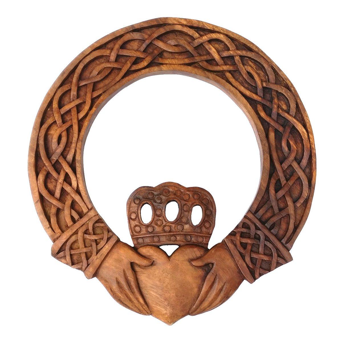 Irische Deko Wandbild Claddagh Freundschaft Handarbeit aus Holz