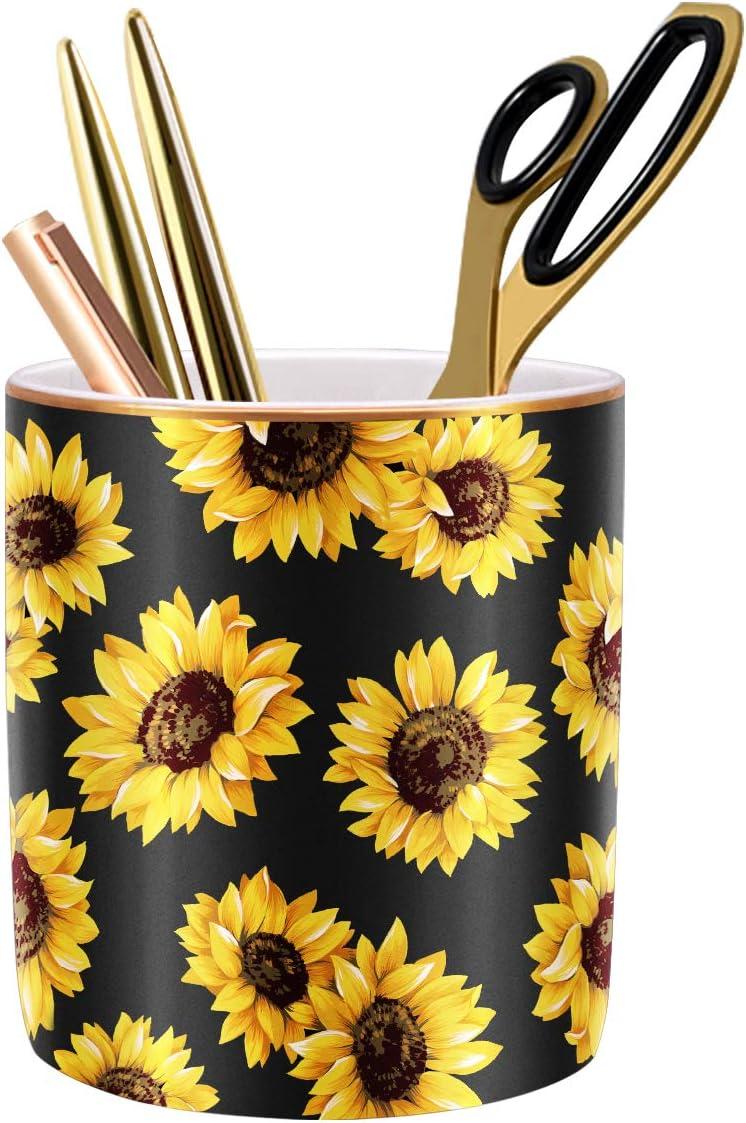 WAVEYU Pen Holder, Pencil Holder for Desk, Cute Makeup Brush Holder Flower Pattern Pencil Cup for Girls Kids Durable Ceramic Desk Organizer Ideal Gift for Office, Classroom, Sunflower