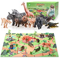 Colorshow Safari Animals Figurines Toys with Activity Play Mat & Trees for Kids Boys Girls - Best Birthday Gifts