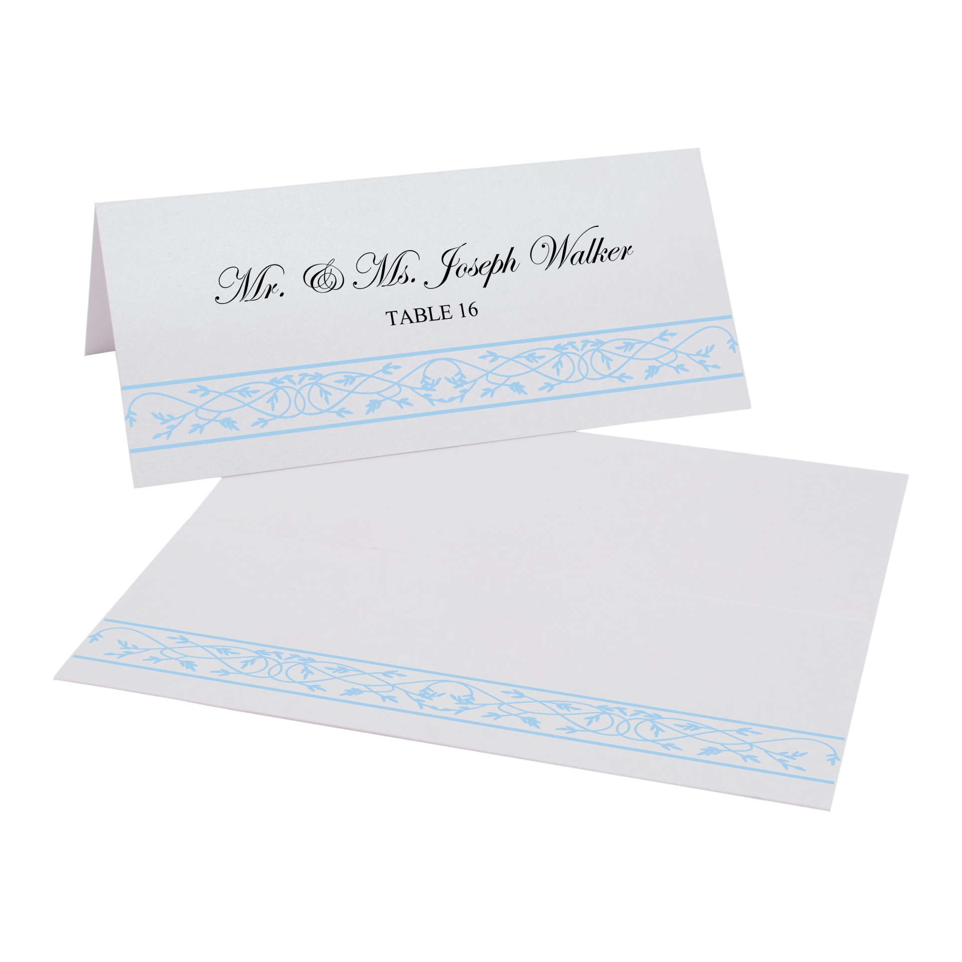 Celtic Leaf Border Easy Print Place Cards, Pearl White, Light Blue, Set of 475 (119 Sheets) by Documents and Designs