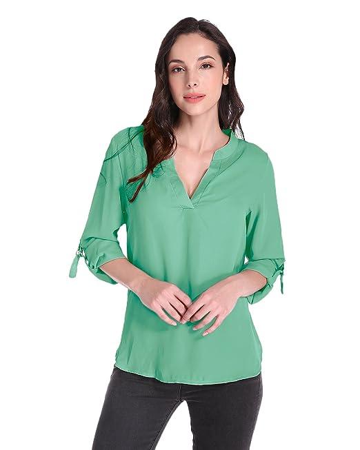ZANZEA Blusa Mujer V Cuello Camicia Chiffon Manga Larga Verano Verde ES 42-44