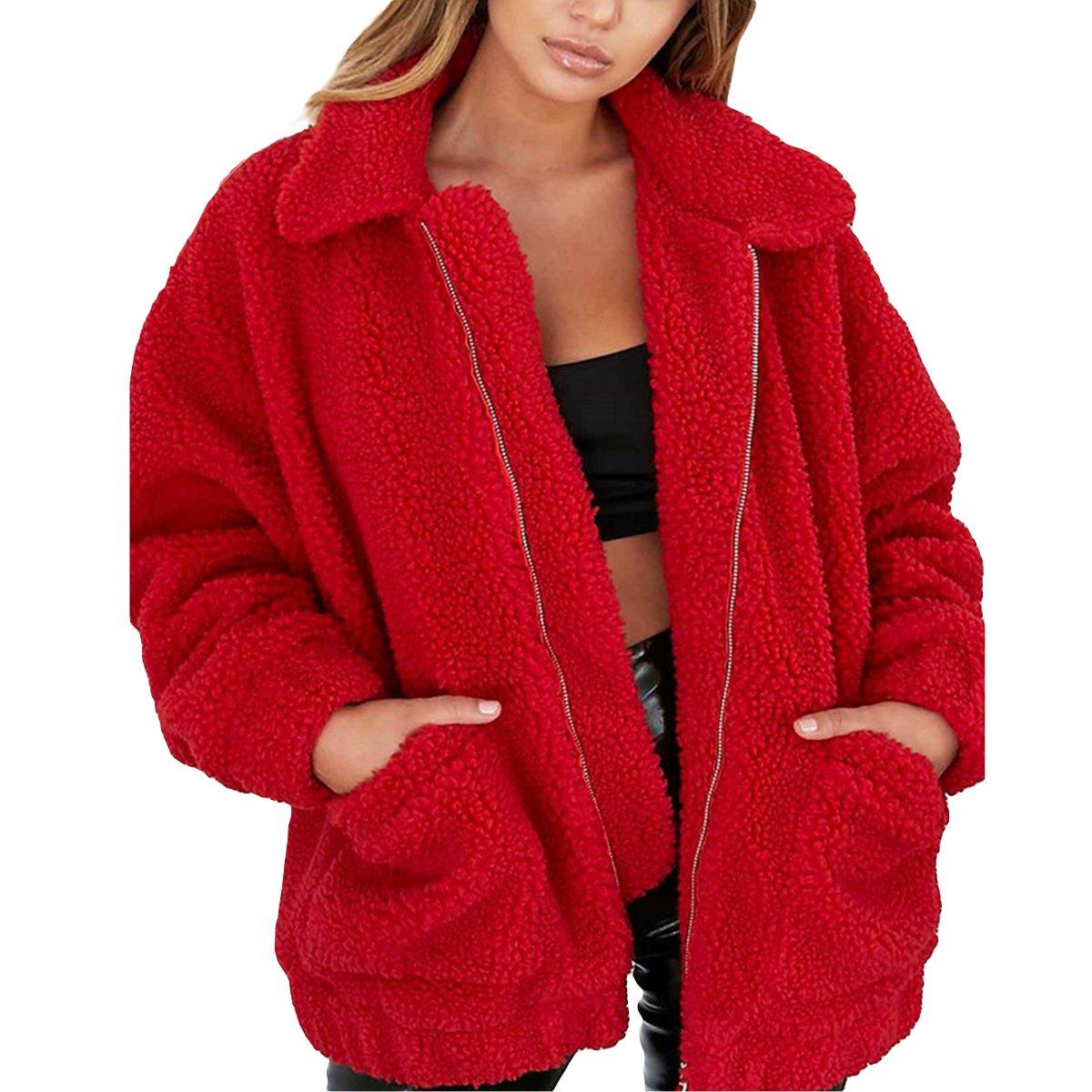 WENFUMEI Women Lapel Long Sleeve Winter Boyfriend Faux Coat Zipper Jacket