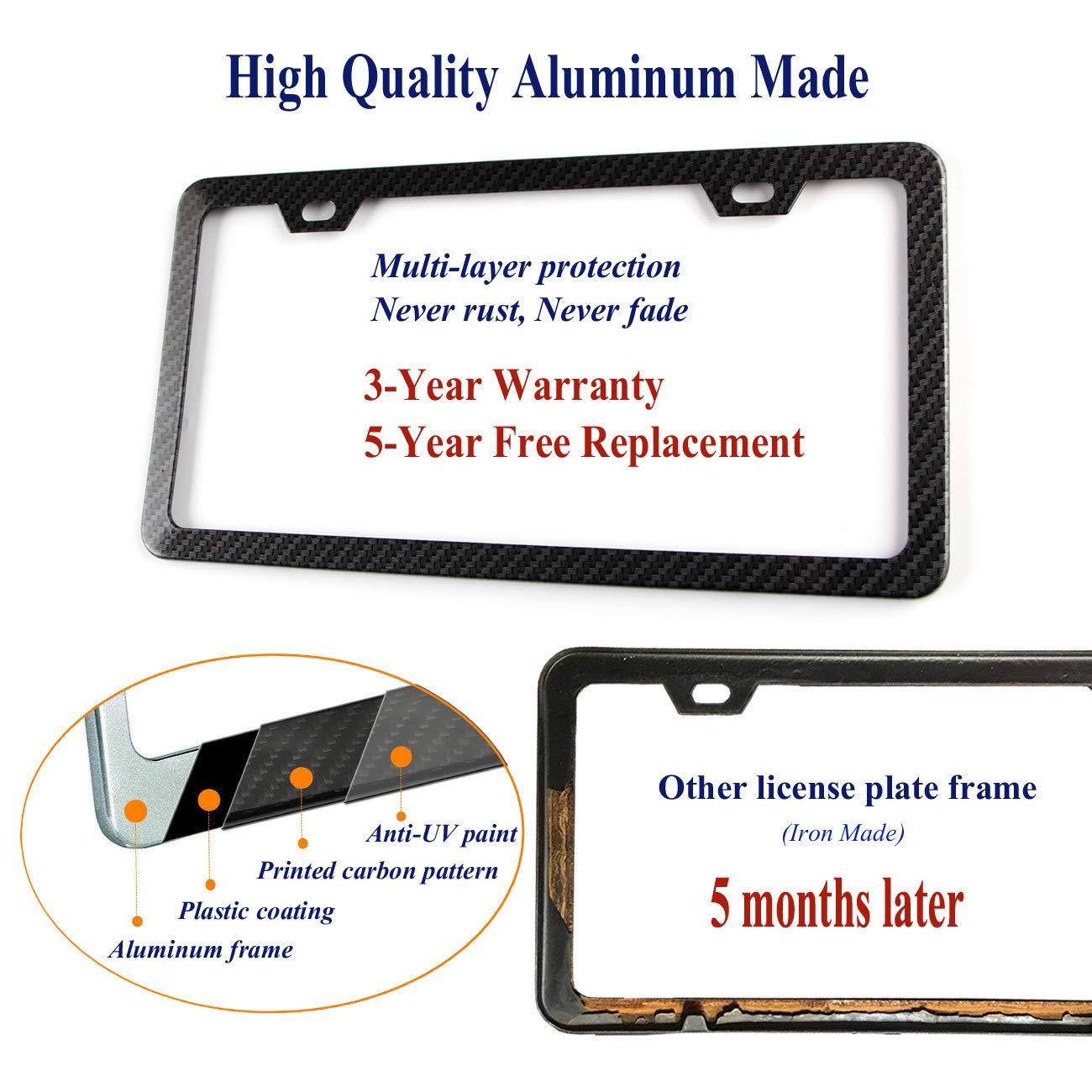 License Plate Aluminum Metal Black Frame Chrome M Performance Logo 2P for BMW