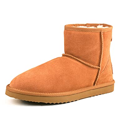 Women's Classic Short Cowhide Leather Snow Boot