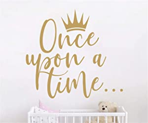 JURUOXIN Once Upon a time with Crown Wall Sticker Art Vinyl Home Quote Decals for Kids Girl Princess Room Nursery Decoration House Interior Design YMX38 (Matte Gold, 42X38CM)