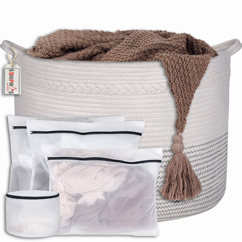SUNPRYS XXXL Cotton Rope Basket:22''x14'' Extra Large Storage Blanket Basket Living Room:White Decorative Woven Laundry Wicker : Baby,Nursery,Toy Hamper:Organizer bin for Kids Room:Round Basket by SUNPRYS