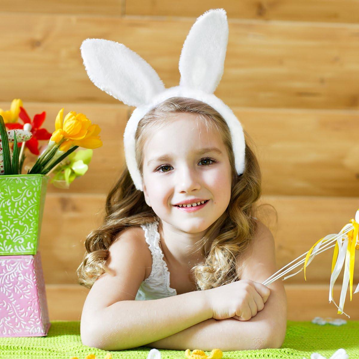 paquete de 3 Tinksky Bunny Cosplay Set accesorio de disfraz de conejo Cute Ears diadema cola pajarita para disfraz de fiesta Cosplay blanco