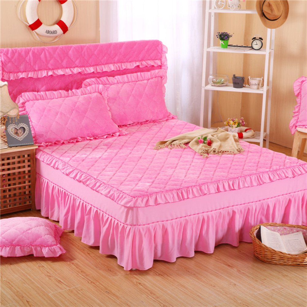 GX&XD Bed Skirt Bedspread Anti-Skid Protection Sleeve Winter Keep Warm Thicken Quilted Flannel-G 180x220cm(71x87inch) Version B