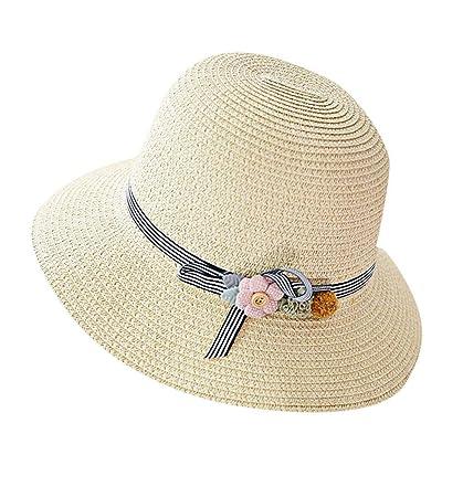 3ecf1e067 Amazon.com: Pausseo Women's Straw Hat, Wide Brimmed Floppy Foldable ...