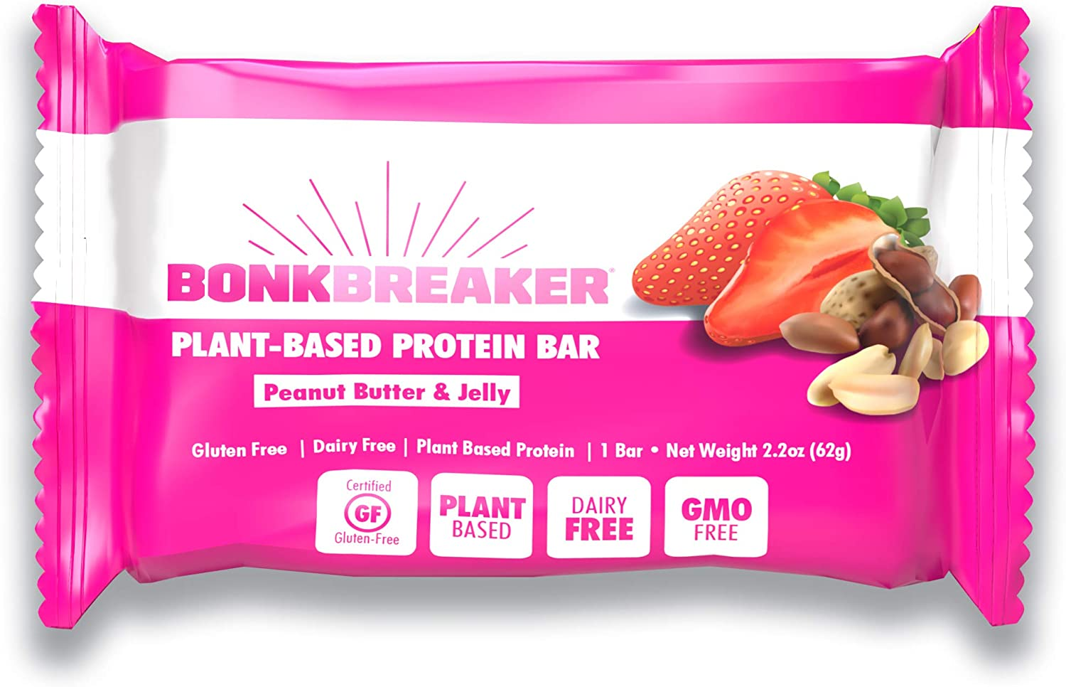 Peanut Butter & Jelly High Based Protein Bar by Bonk Breaker - Gluten Free, Dairy Free, Packed with Energy - 2.2 Oz each - 12 Bars
