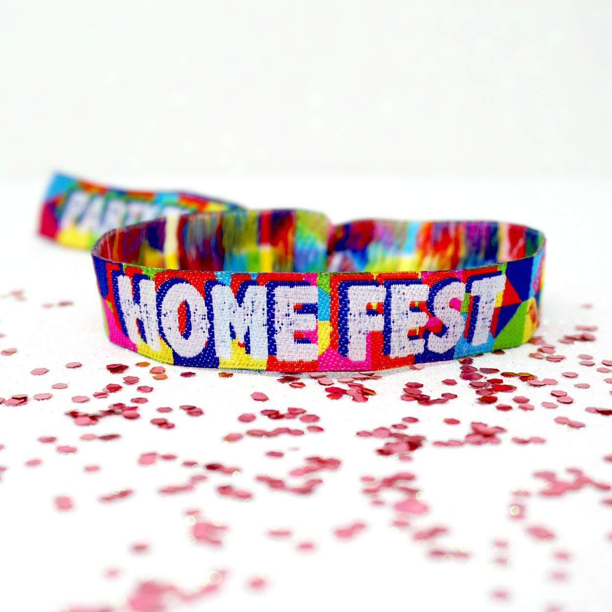 5 pack of HOME FEST Festival Party Wristbands Favours ~ HomeFest Festival Birthday Party Bag Fillers ~ House Party Wristbands ~ Lockdown Party ~ GLASTHOMEBURY