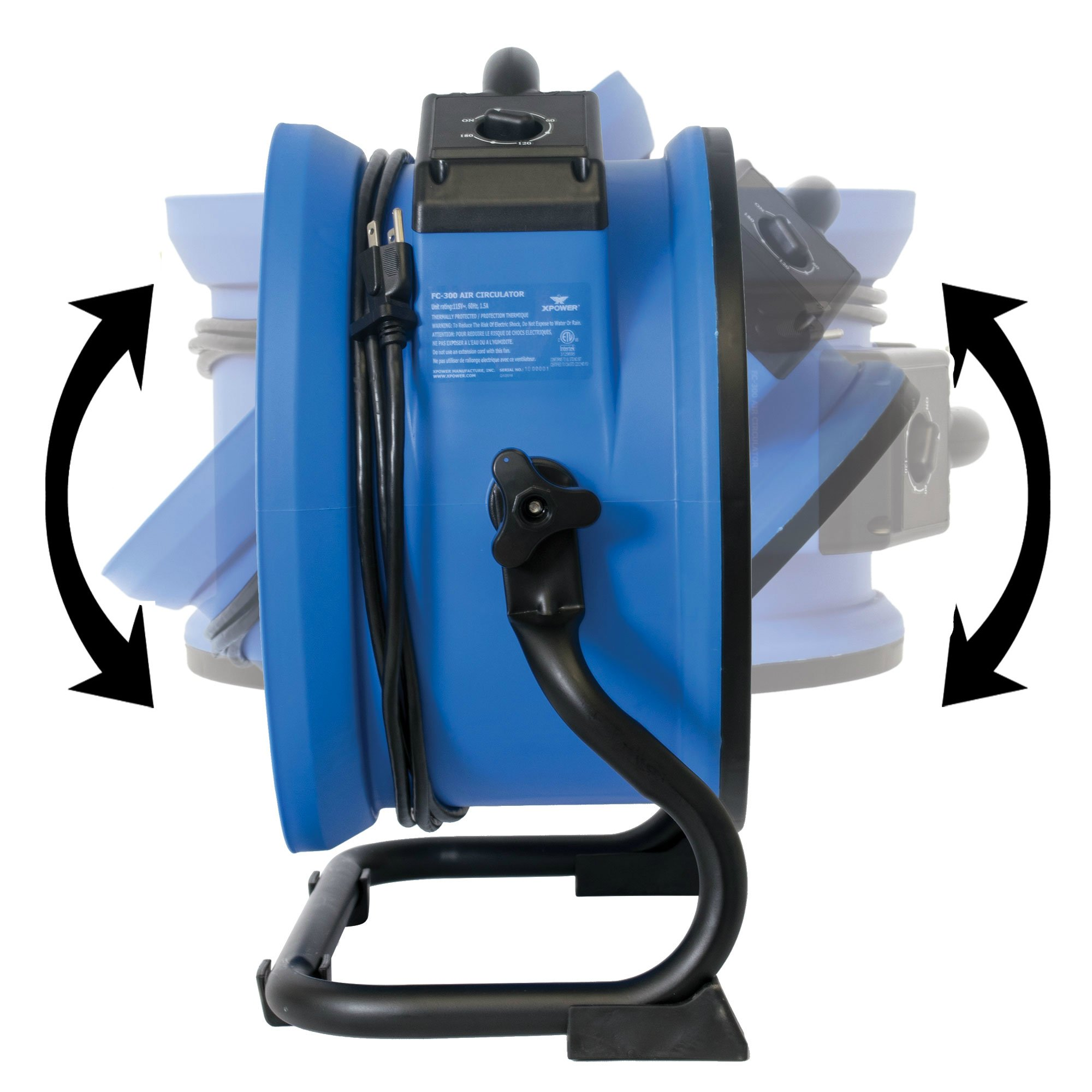 XPOWER FC-300 Professional Grade Air Circulator, Utility Fan, Carpet Dryer, Floor Blower-14 Diameter Heavy Duty Portable Shop Fan