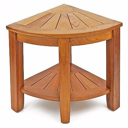 Superb Welland 15 5 2 Tier Teak Wood Shower Corner Bench With Storage Shelf Wooden Bath Stool Seat Inzonedesignstudio Interior Chair Design Inzonedesignstudiocom