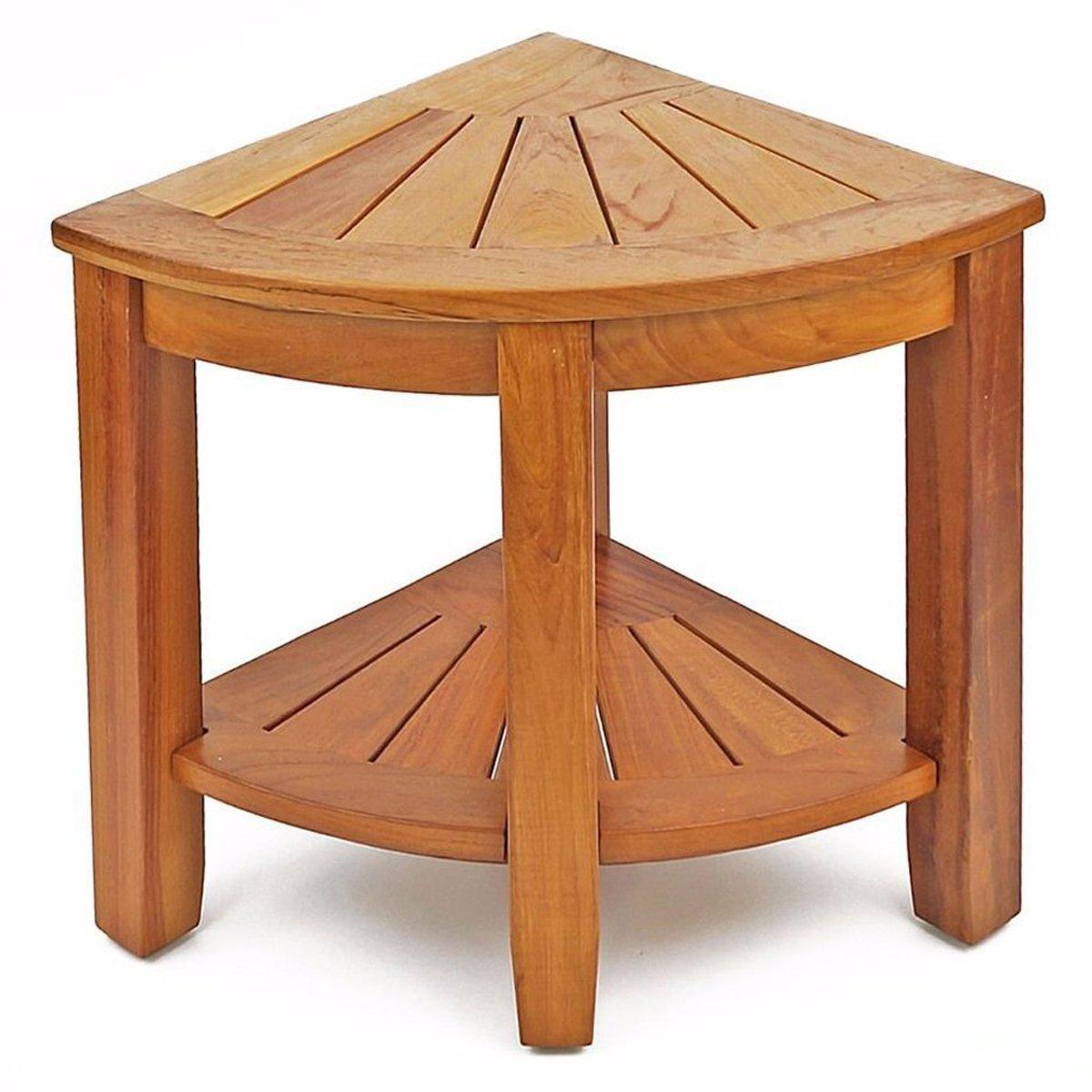 WELLAND 15.5'' 2-Tier Teak Wood Corner Shower Bench with Storage Shelf, Wooden Bath Stool Seat