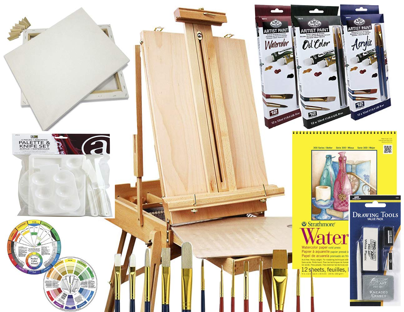 Art Set with HARDWOOD French Easel, Paints, Stretched Canvases, Brush Sets, Drawing Supplies and More by French Easels
