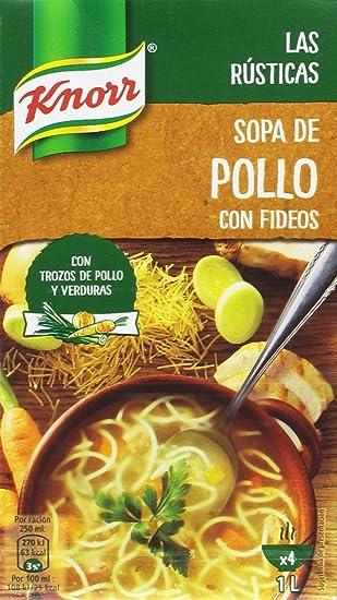 Knorr Las Rústica Sopa de Pollo con Fideos - Paquete de 8 x 1 L -