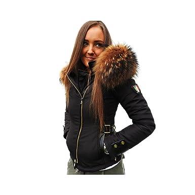 610895c980 Ventiuno Veste Perfecto Emily Noir Bi-matière Fourrure véritable et Cuir -  S - Doudoune