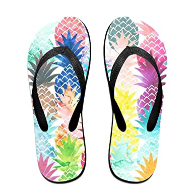 469dfea2d6f4d2 Amazon.com  Pineapple Pattern Top Quality Unisex Flip Flops Rubber Thong  Sandal Beach Slipper For Women Men  Clothing