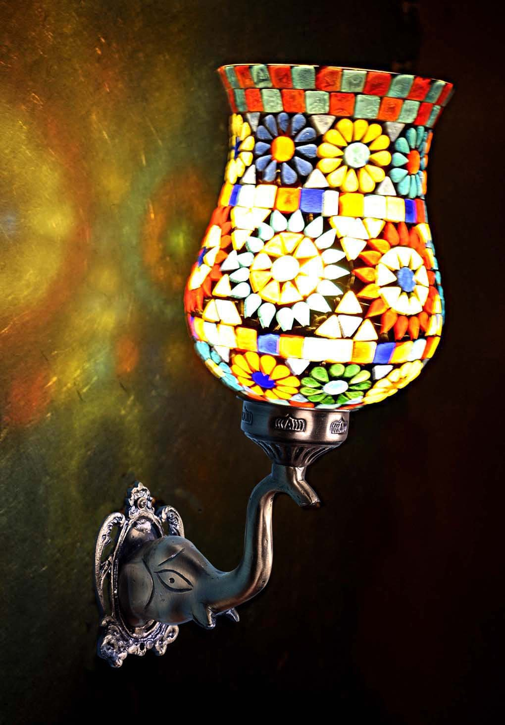 Lalhaveli Vintage Decorative Turkish Mosaic Glass Wall Light Sconce Fixture/Indoor & Outdoor Home Decor Wall Lamp for Living Room, Bed Room and Balcony, Bronze Finish