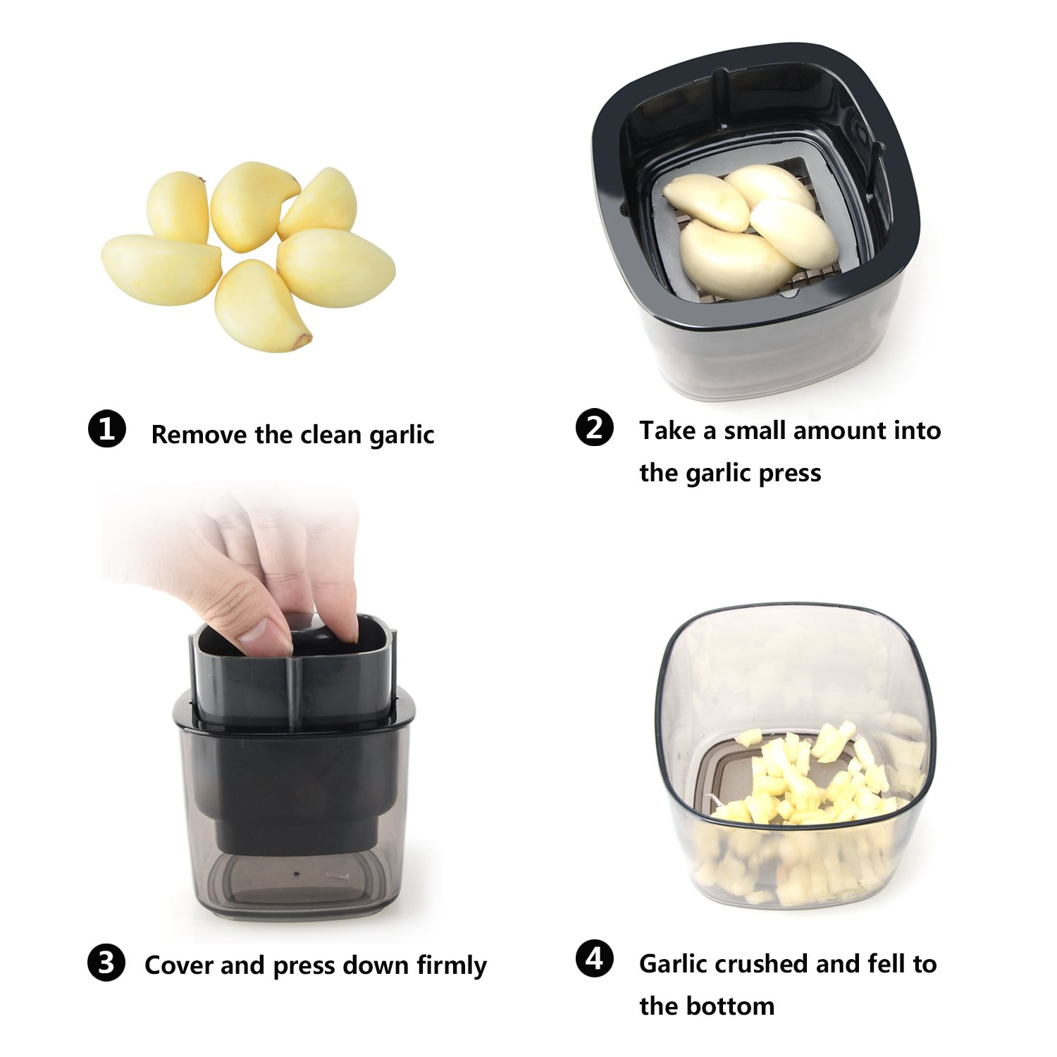 Garlic Press Chopper Dicer Slicer Cutter Cheese Grinder Grater , Crush Garlic Cloves With Mini Container Moobom