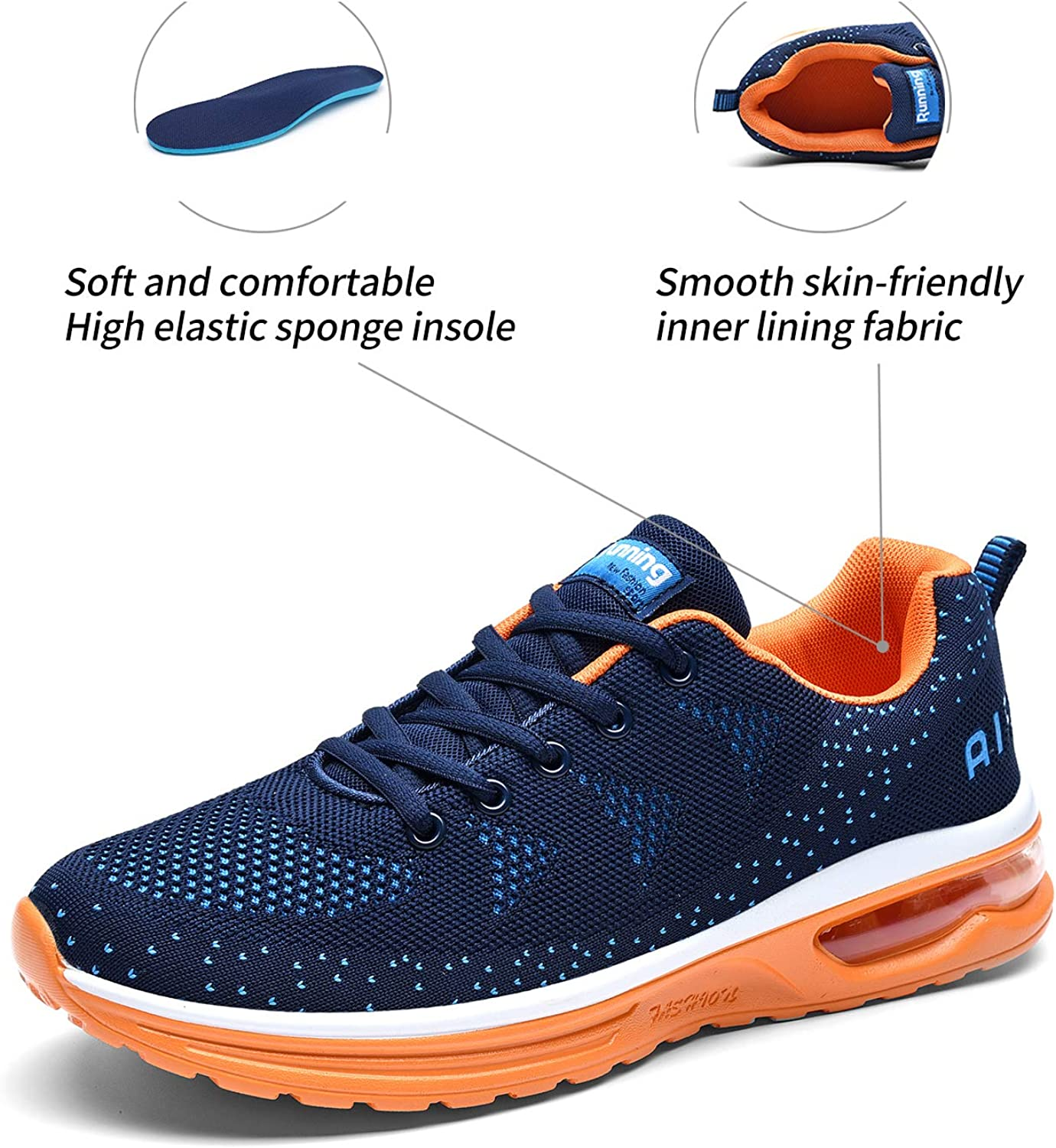 Mens Running Shoes 10 On9in Mens Walking Athletic Shoes Comfort Casual Sneaker Cross Training Running Footwear for Men Tennis Racquetball Indoor