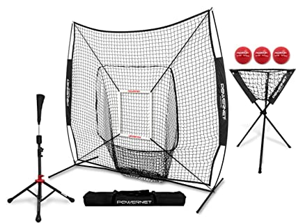 21e32ba79 PowerNet 7x7 DLX Practice Net + Deluxe Tee + Ball Caddy + 3 Pack Weighted  Ball + Strike Zone Bundle | Baseball Softball Coach Pack | Pitching Batting  ...