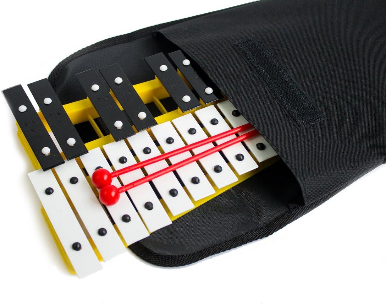 Xilófono ProKussion de 27 teclas con bolsa de transporte suave, amarillo
