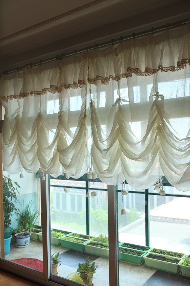 LELVA Solid Beige Decorative Sheer Window Durtain Bedroom Living Room Curtains Adjustable Balloon Drapes – 1 Panel Curtain Each Panel W102 x L94