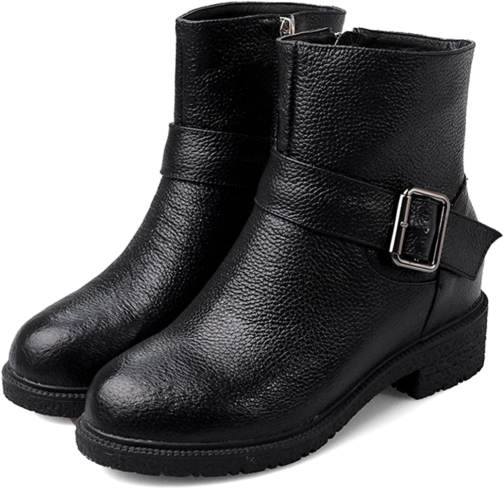 MINIVOG Womens Buckle Strap Litchi Leather Height Increasing Low Heel Ankle Boots Black 5