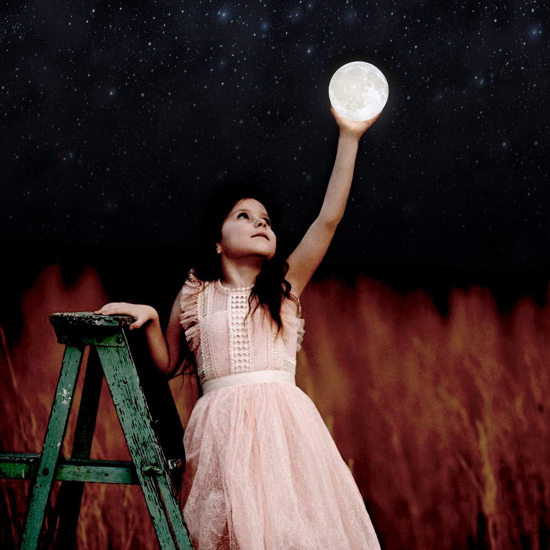sensor t/áctil LED 3D,L/ámpara de cabecera,L/ámpara de dormitorio regulable para beb/és,L/ámparas de escritorio recargables con pilas para l/ámparas de dormitorio pa Surenhap L/ámpara Luna,Luz de Moon,Luz nocturna