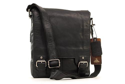 Ashwood Messenger Bag - Laptop iPad A4 Size - 8342 - Black Leather(Size  1e2be5beb73b8