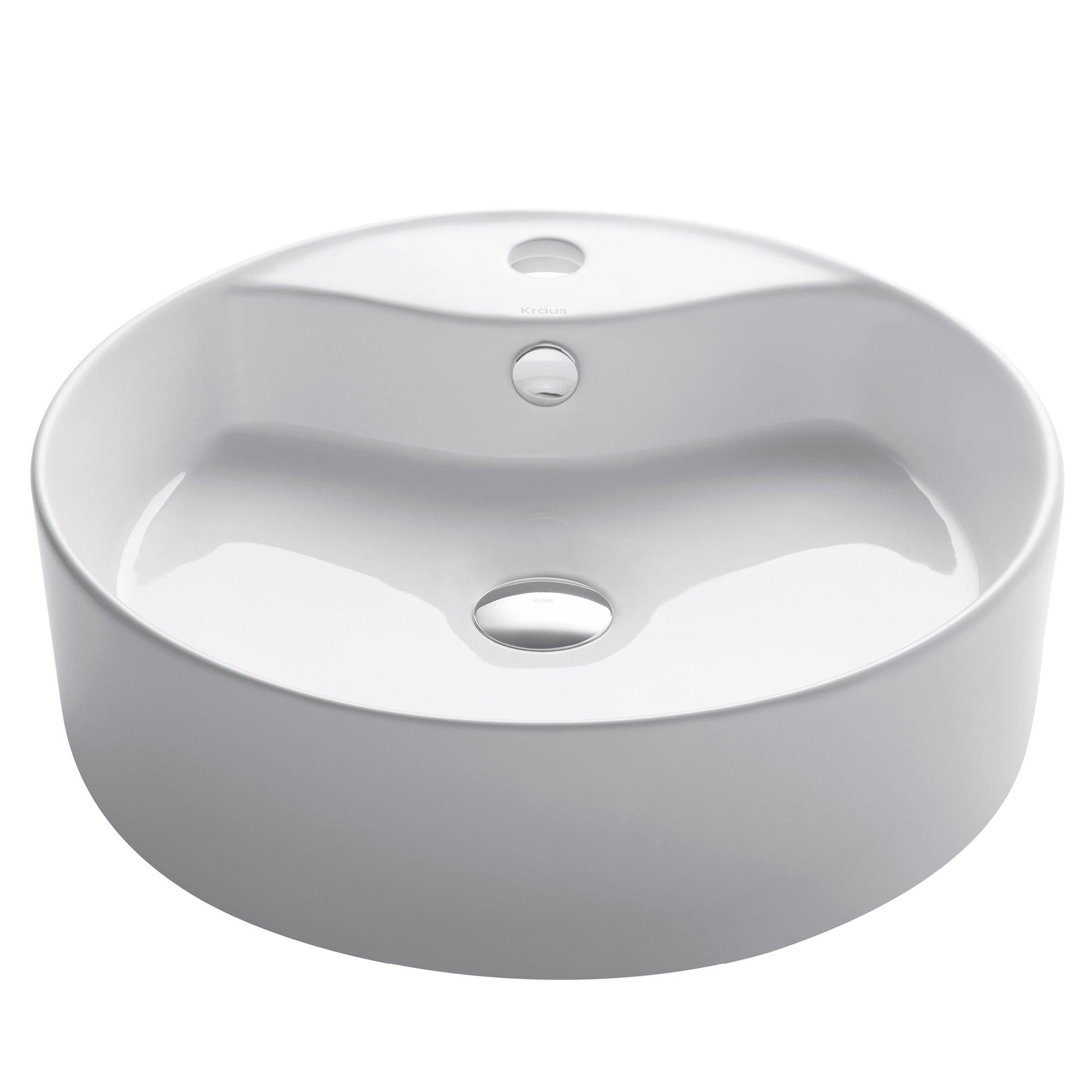 KRAUS Elavo 24-Inch Round Vessel Porcelain Ceramic Bathroom Sink in White with Overflow, KCU-261