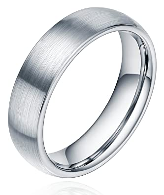 6mm unisex tungsten titanium ring brushed dome wedding bands comfort fit size 4 15 - Amazon Wedding Rings