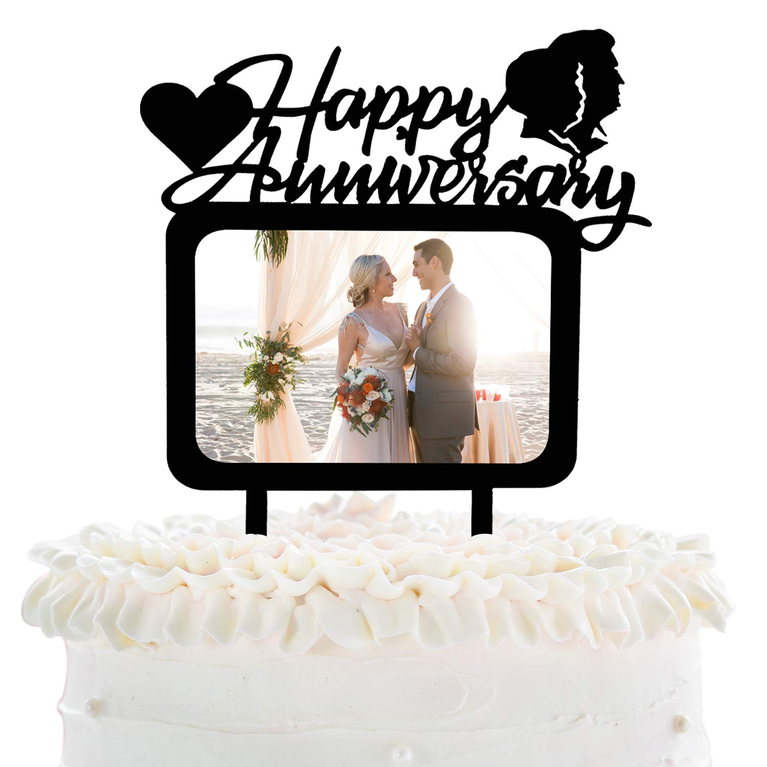 Happy Anniversary Cake Topper With Photo Frame Cake Picks Decor Bridal Shower Wedding Anniversary Party Supplies Silhouette Groom Bride Lovely Heart Decorations Amazon In Grocery Gourmet Foods