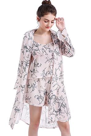 Women s Plus Size Pajamas Sets Sexy Camisole Vest Floral Shorts Chiffon  Cover up M Beige 9e41a42b8