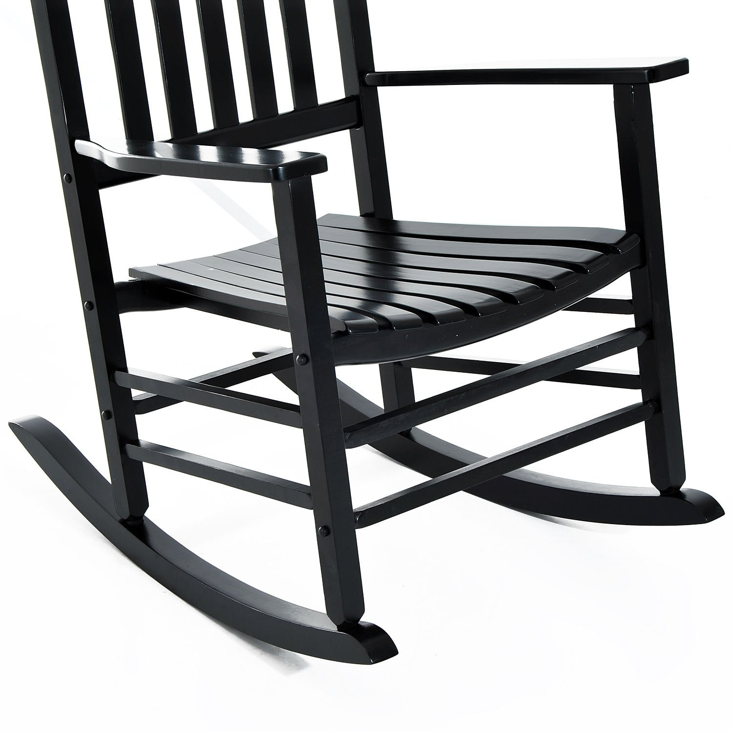 Outsunny Porch Rocking Chair - Outdoor Patio Wooden Rocker - Black by Outsunny (Image #5)