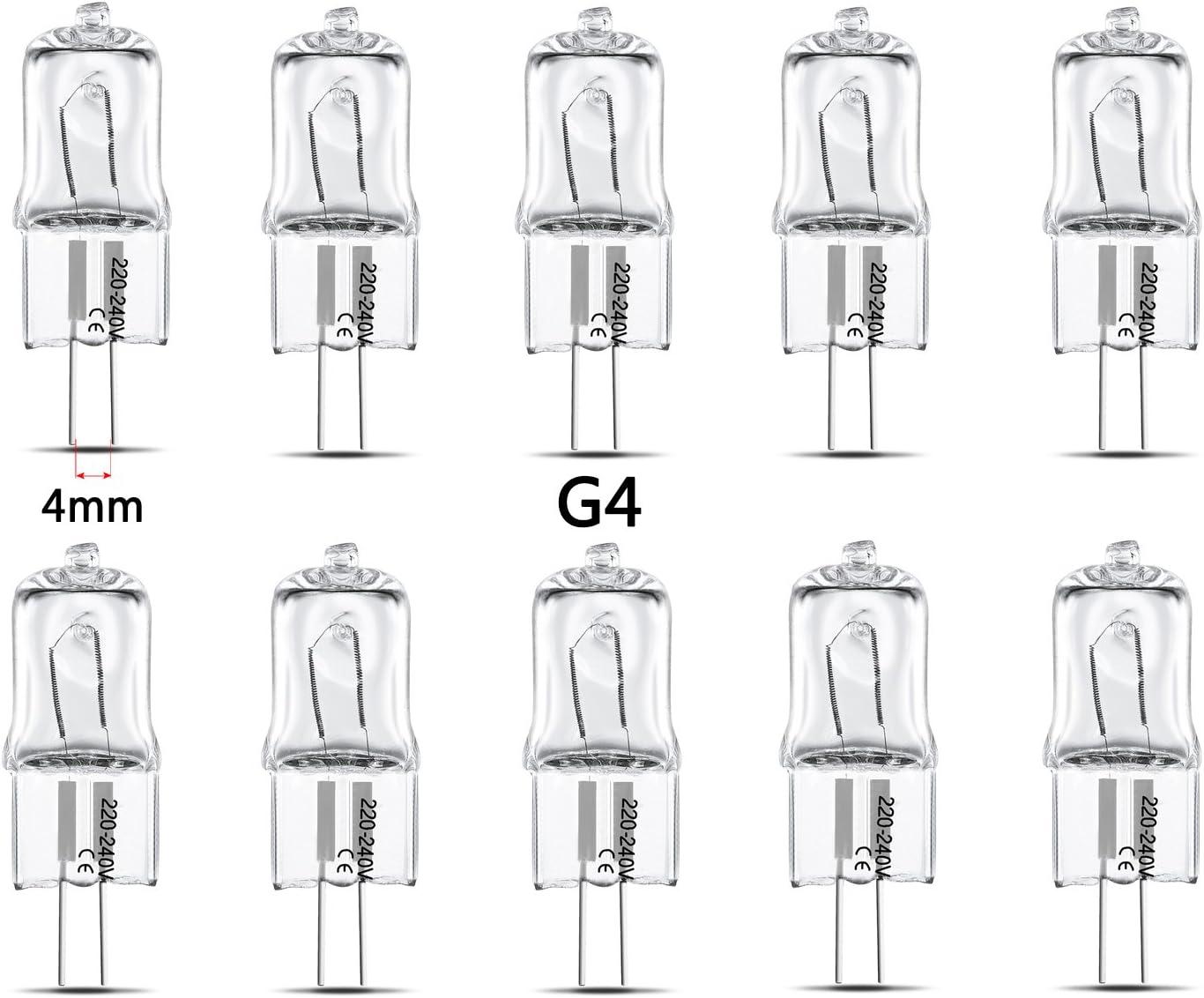 tinxi® Lámpara de la bombilla halógena G4 10x luz blanco cálido, lámpara de la cápsula, de 10 vatios, blanco cálido, 12V 24V 36V