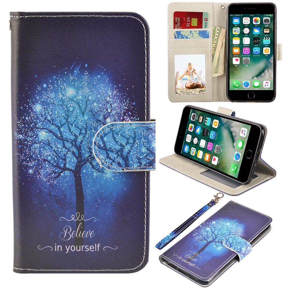 iPhone 7 Plus/8 Plus Case, MagicSky iPhone 7 Plus/8 Plus Wallet Case Folio Flip Premium PU Leather Case Cover with Card Holder Slot Pockets,Wrist Strap,Magnetic Closure for Apple iPhone 7 Plus/8 Plus, Believe in yourself