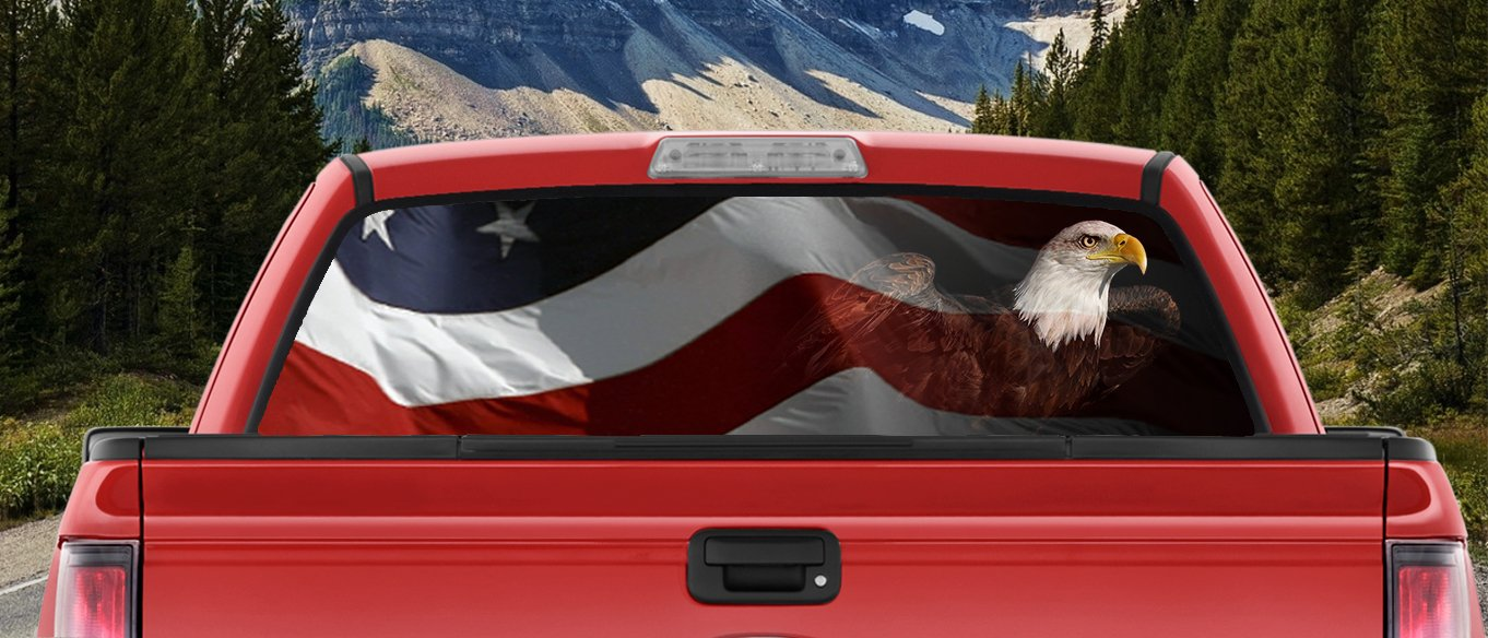 Amazon com waving american flag patriotic bald eagle full color back window graphic decal truck backscape 66 x 20 inches automotive